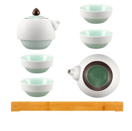 茶具套装内青外白一壶四杯一公道一茶盘 茶盘包装 商务亚博在线登陆