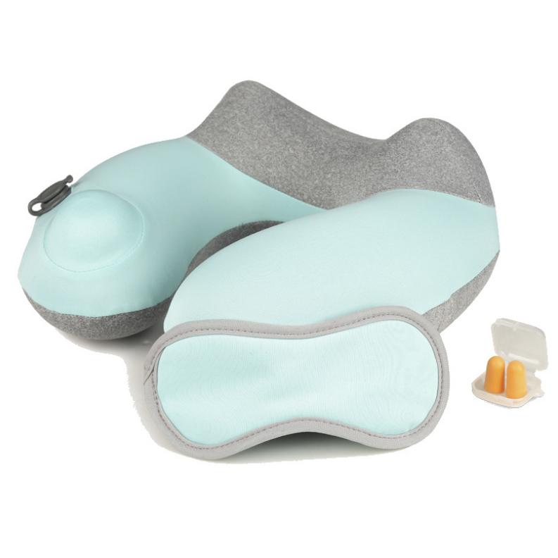 按压自动充气枕U型枕旅行办公午睡枕飞机枕护颈椎 亚博在线登陆yabovip19