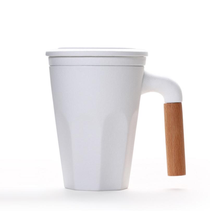 木柄泡茶杯带盖过滤茶杯 陶瓷马克杯LOGOyabovip19 商务亚博在线登陆