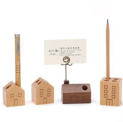 实木笔筒桌面收纳盒创意时尚多功能笔架笔插房子文具四件套