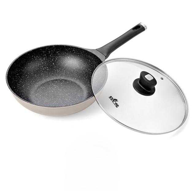 德国司顿新铝合金30CM麦饭石色铝铸不粘锅炉灶通用 福利亚博在线登陆