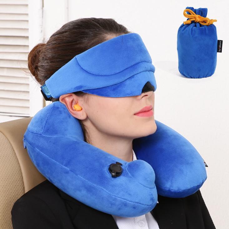 U型自动充气枕便携式自动充气护颈枕眼罩三件套  医疗展会亚博在线登陆