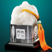 琉璃玉玺中号双龙水晶印章创意家居工艺品摆件 商务亚博在线登陆