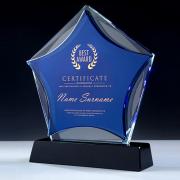 新款蓝色水晶奖杯yabovip19 颁奖纪念品五角星奖牌 亚博在线登陆yabovip19