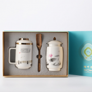 湖畔居 茶杯茶叶罐礼盒套装 陶瓷杯 茶水分离杯 送客户亚博在线登陆