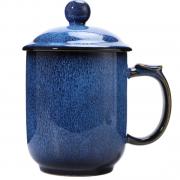 湖畔居 钧窑陶瓷杯 办公杯 带盖泡茶杯 会议杯 商务亚博在线登陆yabovip19
