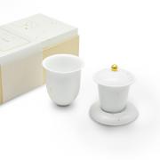 清朴堂 露珠套装 简茶器 纯手工高白瓷功夫茶具茶杯 伴手礼