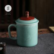 尚唐 龙泉青瓷 陶瓷商务水杯子 鸿运当头杯 商务亚博在线登陆yabovip19